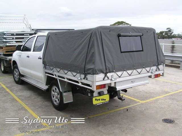 Sydney Ute Accessories Canvas Cover Racks optional & Custom Canvas Cover to suit Hilux Dual Cab. Front clear window ...